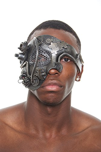 Terminator Costume Mask (Silver Terminator Steam Punk Masquerade Mask with Mesh, Rods, Gears and Computer Parts (Unisex; One Size Fits All))