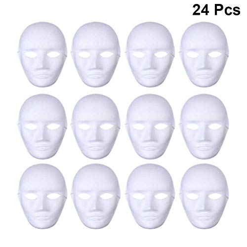Amosfun 24pcs Blank Painting Mask Male Full Face DIY Mask for Halloween Ghost Cosplay Masquerade Hip Hop Dance Party Favors(White) -