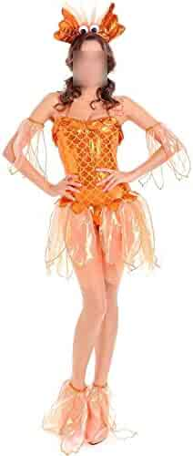3aef0f0acb7 Ladies Role Playing Halloween Costume Mermaid Cosplay Sexy Little Goldfish  Costume CK-TSHIRT