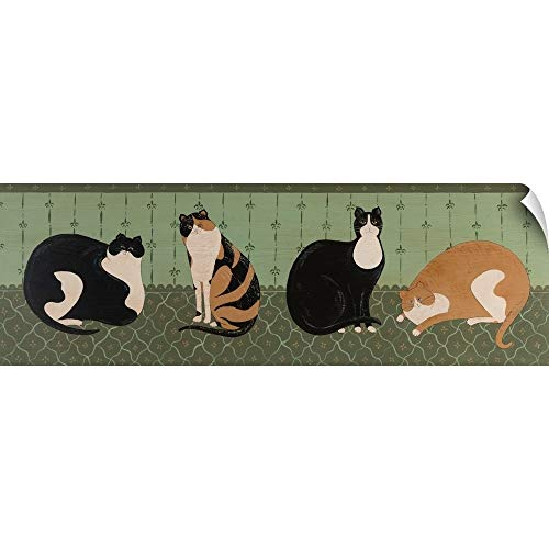 CANVAS ON DEMAND 4 Cats Wall Peel Art Print, 48
