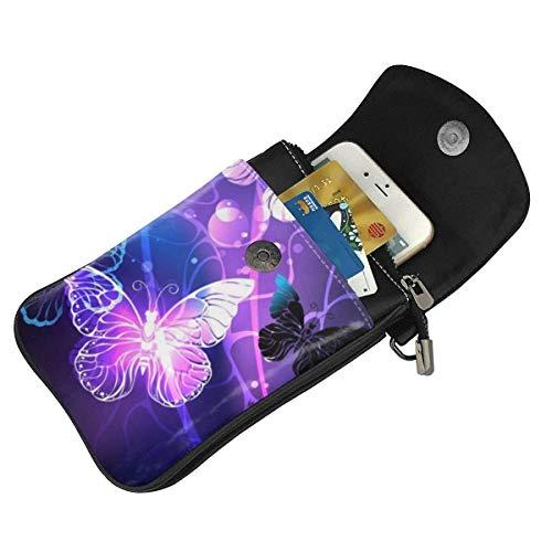 Hdadwy mobiltelefon crossbody väska bakgrund med natt fjärilar kvinnor PU-läder mode handväska med justerbar rem