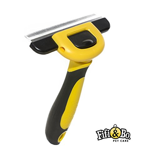 Fifi & Bo. PET CARE Deshedding Tool & Pet Grooming Brush for Large, Medium & Small Dogs, Cats and Horses with Long or Short hair. Reduces all Shedding in less than 10 Minutes!