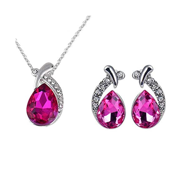 GahrchianSwarovski Crystals Necklace Earrings Jewelry Set Rhinestone Dangle Drop Necklace Earrings Perect Gift for Women