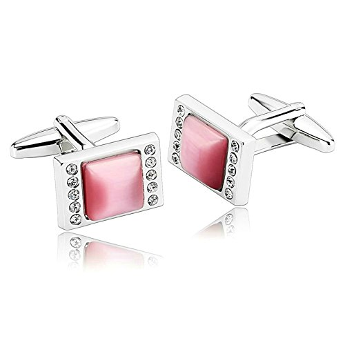 Aooaz Mens Cufflinks Rectangle Brushed Cubic Zirconia Stainless Steel Cufflinks Silver Pink With Gift Box