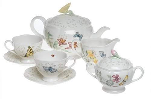 Lenox Butterfly Meadow 8-Piece Tea Set, Service for 2 (Contemporary Ceramic Floral)