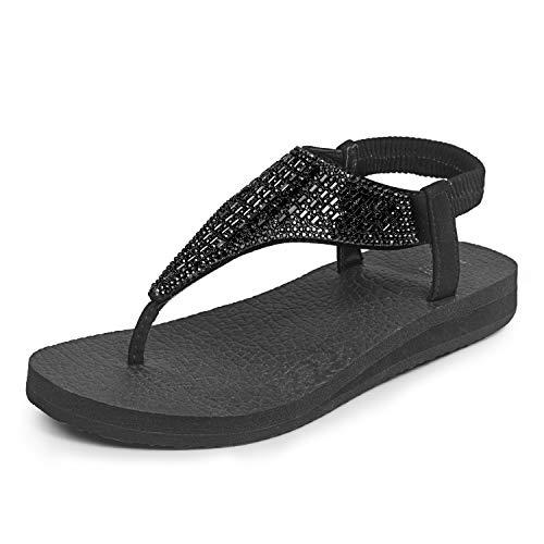lops Yoga Sling Rhinestones Flat Sandals Comfort Shoes Size 6-11 Black ()