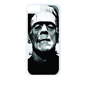 Frankenstein's Monster - Apple iPhone 5 - 5s universal (NOT 5C) - Hard white plastic case with black soft rubber lining (double layer).