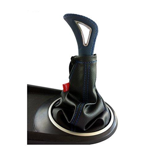 Pommeau de Shifter Gaine universel Gaiter Couverture Botte manchette collier Noir avec Bleu coutures Soufflet de levier de vitesses cuir GKC103BB