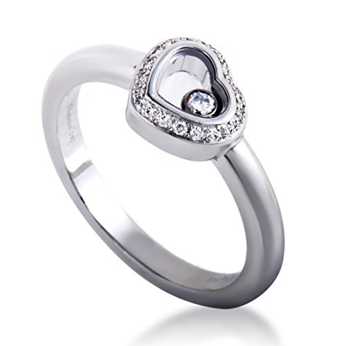 Chopard Happy Spirit 18K White Gold Full Diamond and Floating Diamond Small Heart Ring (Gold Diamond Happy Heart)