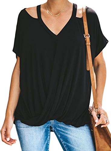 Happy Sailed Women Summer Draped Shirts V Neck Short Sleeve Solid Color Front Knotted Blouses Tops XX-Large Black