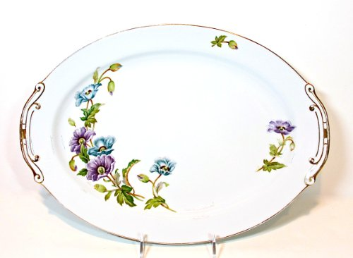 Kyoto Platter,Vintage, white,purple/blue Flowers,gold Trim,Normandy, 16.2