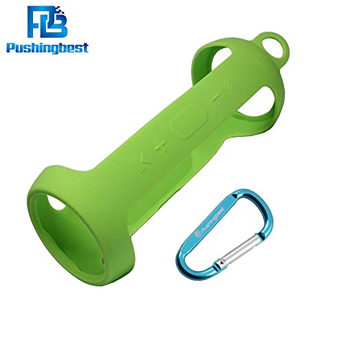 Pushingbest Carrying Case for JBL Charge 3 Speaker Durable Silicone Extra Carabiner Offered for Easy Carrying Green
