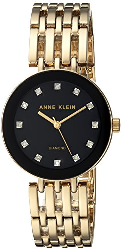 Anne Klein Women's AK/2944BKGB Diamond-Accented Gold-Tone Bracelet Watch