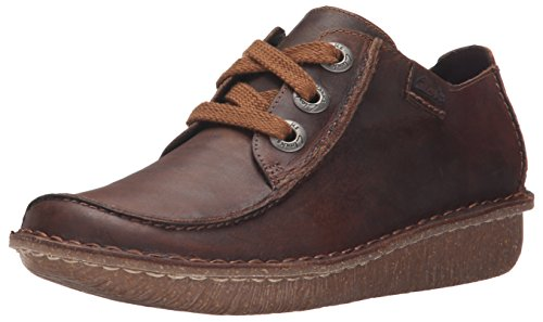 Clarks Women's Funny Dream Oxford, Brown Leather, 8.5 M US by CLARKS
