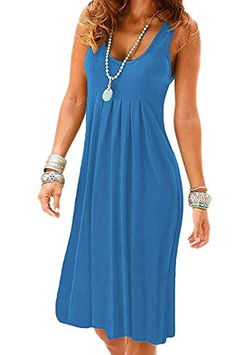 Blue Color Dress Vest - MIDOSOO Womens Casual Round Neck Sleeveless Solid Summer Tank Dress Blue S