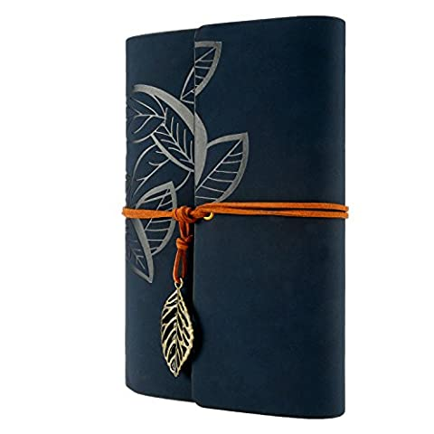 Foonii Vintage Retro Leather Cover Notebook Mystical Leaves String 80 Blank Jotter Diary Leaves(Dark (Notebook Rigida)