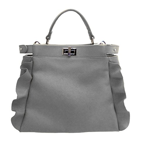 in in Rouge Italy pelle morbida Donna modello Volterra vera Made Borsa SUPERFLYBAGS Grigio pPwqREvw