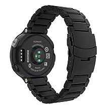 Garmin Forerunner 235 Watch Band, MoKo Universal Stainless Steel Watch Band Strap Bracelet for Garmin Forerunner 235 / 220 / 230 / 620 / 630 Smart Watch, Watch Not Included - BLACK