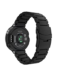 Garmin Forerunner 235 Watch Band, MoKo Universal Stainless Steel Watch Band Strap Bracelet for Garmin Forerunner 235 / 220 / 230 / 620 / 630 Smart Watch, Watch Not Included - BLACK
