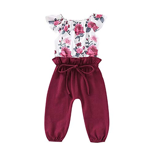 baskuwish Children's Floral Print Stitching Romper,Infant Girls Cap Sleeve Floral Print Patchwork Bow Romper Jumpsuit Outfits Wine