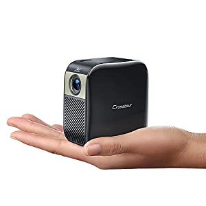 Crosstour Mini Projector, Portable Pocket LED Projector Supports Full HD, Pico DLP Video Projector with Rechargeable…