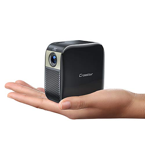 Crosstour Portable Projector, Mini Pico Pocket Projector for Outdoor Movies, Small DLP Video Projector Home Theater, 3000 mAh Rechargeable Battery 40000 Hrs LED Life Supports HDMI TV Stick PS4