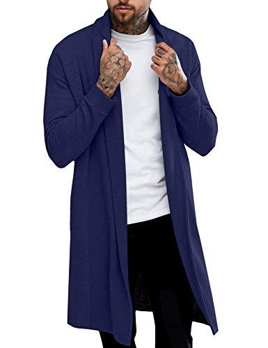 Pacinoble Men's Ruffle Shawl Longline Draped Lightweight Open Front Cotton Long Length Cardigan Navy Blue