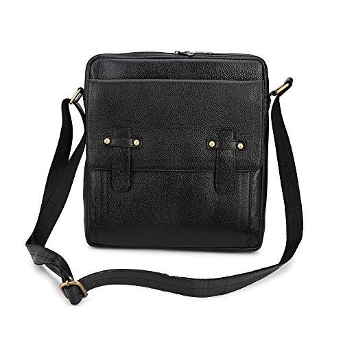 Team Spirit Wallet - Carry Me Stylish Genuine Grained Leather Unisex Sling/Crossover/Shoulder Bag/iPad Bag(Black)