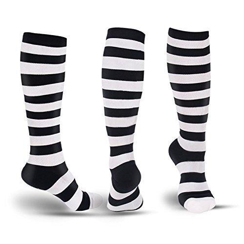 Fashion Compression Socks Men&Women-Sports Socks Best Fit for Running, Athletic Sports, Nurses, Flight Travel & Maternity Pregnancy-Below Knee High
