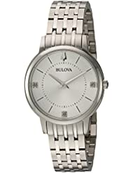 Bulova Womens Diamonds Quartz Stainless Steel Casual Watch, Color:Silver-Toned (Model: 96P183)