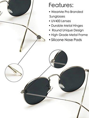 WearMe Pro - Reflective Lens Round Trendy Sunglasses (Gold Frame/Black Lens, 51) by WearMe Pro (Image #8)