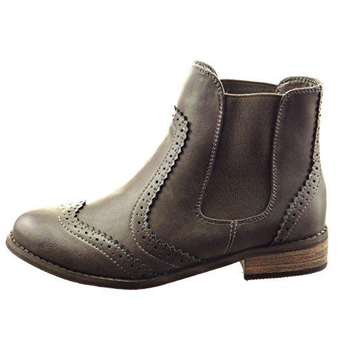 Sopily - Scarpe da Moda Stivaletti - Scarponcini chelsea boots donna perforato Tacco a blocco 3 CM - Grigio