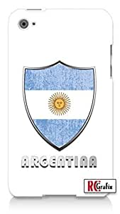 Premium Argentina Flag Badge Direct UV Printed Apple ipod 5 Ipod 5g Quality Hard Case Snap On Skin for ipod Gen 5 and 5, 5G (WHITE CASE) by icecream design