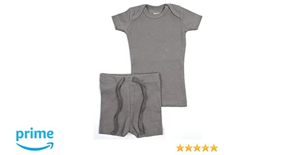 Amazon.com: B&D Unisex 2 Piece Outfit - Pajama. Soft Cotton Fitted Ribbed Short Sleeved with Shorts Boys & Girls (Grey, 18 Months): Baby