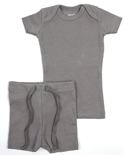 B&D Unisex 2 Piece Outfit - Pajama. Soft Cotton Fitted Ribbed Short Sleeved with Shorts Boys & Girls (Grey, 2T)