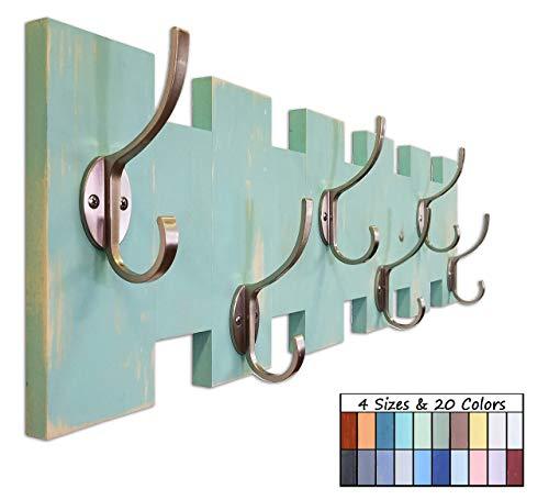 Easton Wall Mounted Hooks, Coat Hooks, Towel Hooks, Key Hook, Wood Coat Rack, Entryway Storage, Heavy Duty Double Hooks - 20 Colors, 4 Sizes - Shown In Sea Blue