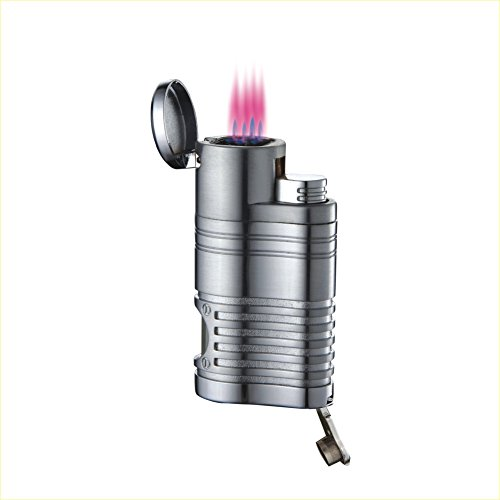 - Quad Jet Flame Butane Cigarette Torch Lighter with Cigar Punch Cutter (Chrome)