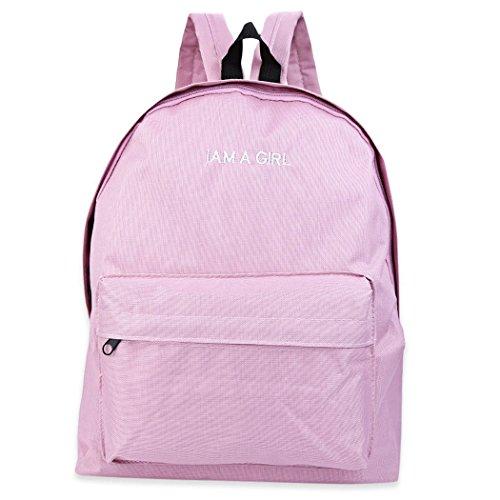 MIOIM Moda Mujeres Mochila con cremallera Escolar Tipo Casual iaje Mochila de Marcha para Picnic para Mujer o Chica Color Solído Rosa