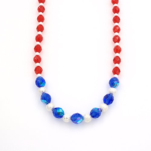 Red White Blue Stardust Necklace - Sapphire AB Glass, Ruby Red Glass, 16-in