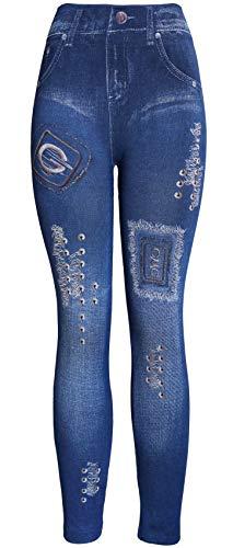 KMystic Women's Denim Print Fake Jeans Leggings (G Lace) - Lace Print Jeans
