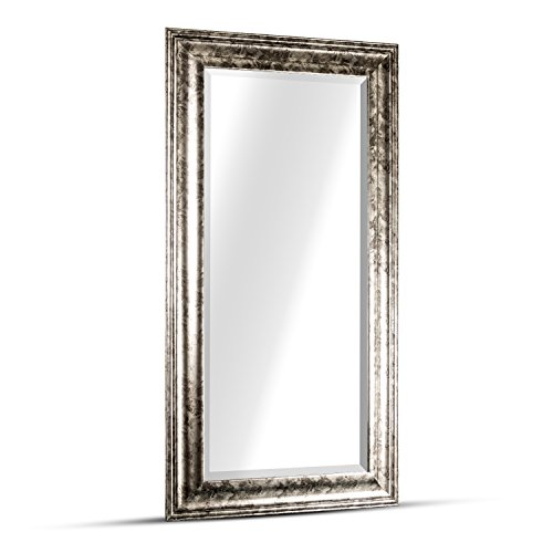 "American Art Decor Lena Rectangle Framed Accent Wall Vanity Mirror - Silver (47"" H x 25"" L x 1"" D)"