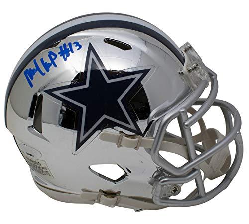 Michael Gallup Signed Dallas Cowboys Mini Speed Chrome Helmet TriStar Dallas Stars Mini Hockey Helmet