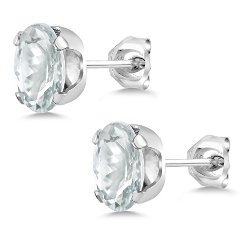 Gem Stone King Sky Blue Aquamarine 925 Sterling Silver Stud Earrings 0.86 Ct Oval Shape Gemstone Birthstone 6X4MM