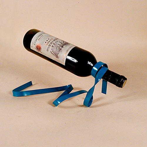 Ky & Co YK Magic Suspended Ribbon Wine Rack Suspension Wine Stand Novelty Iron Rack Bottle Holder Stand Bar Wedding Whiskey Stone Silk Rope (Cobalt Blue)
