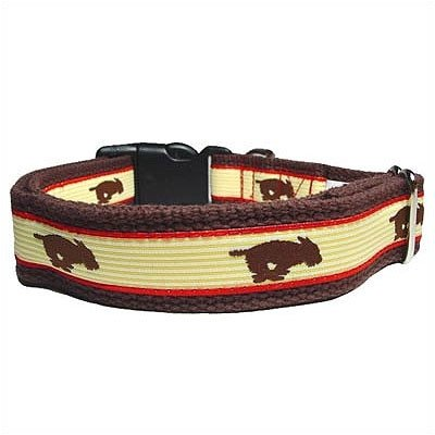 Running Dog Cotton Dog Collar Size: Small