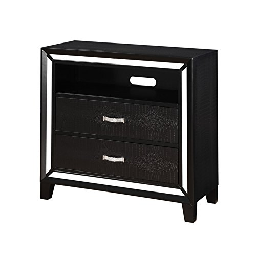 Acme Furniture 22797 Elbert TV Console, Black Crocodile PU (Dovetail A-drawer Dvd)