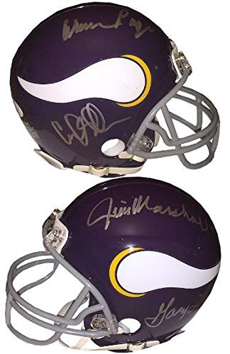 Purple People Eaters Autographed Minnesota Vikings Mini Helmet PPE JSA 12765