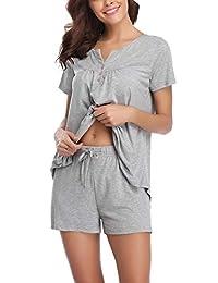 Abollria pijama de manga corta para dama, conjunto de pijama de algodón suave con cuello en V