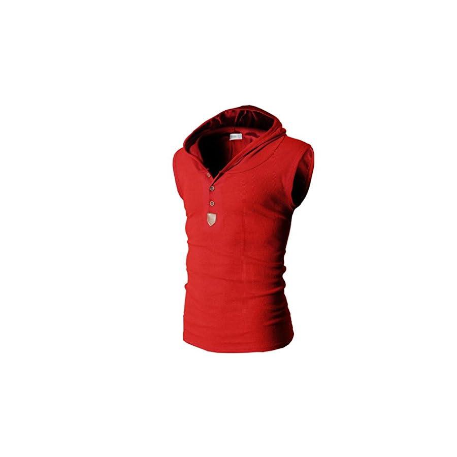 Sunbona Men's Fashion Sleeveless Hooded Tank Tops Vest T shirt Casual Men Summer Tee Short Sleeve Tops