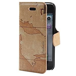 Mini - Map Pattern PU Leather Case for iPhone 5/5S